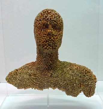 Joao Leonardo | Untitled (bust) 2012 Found cigarrette filters, acrylic glass case 62x59x19cm